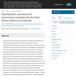 NATURE 08/06/18 Phylodynamic assessment of intervention strategies for the West African Ebola virus outbreak