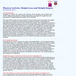 Physical Activity, Weight Loss and Weight Regain