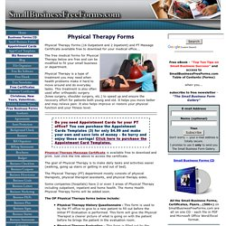 Physical Therapy Forms (OutPatient/InPatient)