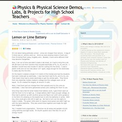 Physics & Physical Science Demos, Labs, & Projects for High School Teachers