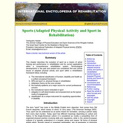 Sports (Adapted Physical Activity and Sport in Rehabilitation)