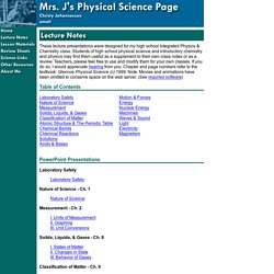 Mrs. J's Physical Science Page - Lecture Notes