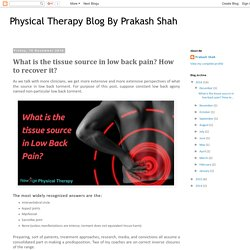 Physical Therapy Blog By Prakash Shah: What is the tissue source in low back pain? How to recover it?