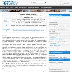 Physical, Atomic & Thermal Properties of Lithium Powder