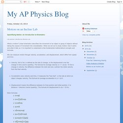 My AP Physics Blog: Motion on an Incline Lab