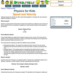 Physics for Kids: Speed and Velocity