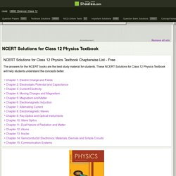 Class 12 Physics Free NCERT Solutions Online in India