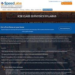 ICSE Class 10 Physics Syllabus For 2018 & 2019: SpeedLabs