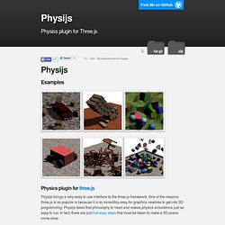 Physijs - a physics plugin for threejs