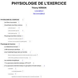 PHYSIOLOGIE DE L'EXERCICE