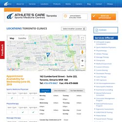 YorkVille - Athletes Care sports medicine, physiotherapy, orthopedic surgeon, chiropractors
