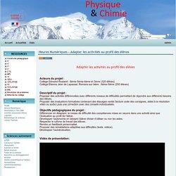 Physique Chimie Académie de Grenoble - Heures Numériques - Adapter les activités au profil des élèves