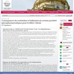 JO SENAT 06/08/20 Réponse à question 14258 : Conséquences des restrictions d'utilisation de certains produits phytopharmaceutiques pour la filière viticole
