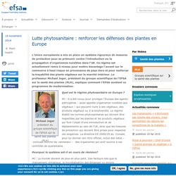 EFSA 19/11/14 Lutte phytosanitaire : renforcer les défenses des plantes en Europe