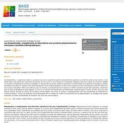 Les biopesticides, compléments et alternatives aux produits phytosanitaires chimiques (synthèse bibliographique)