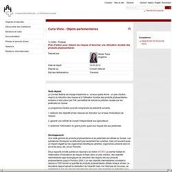 PARLEMENT SUISSE 16/03/12 Plan d'action pour réduire les risques et favoriser une utilisation durable des produits phytosanitair