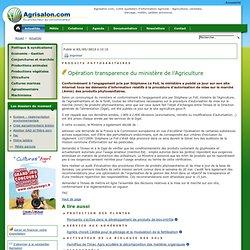 AGRISALON 03/05/13 Opération transparence du ministère de l'Agriculture