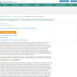 Neo-Piagetian Theories of Development