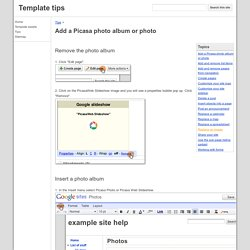 Add a Picasa photo album or photo - Template tips