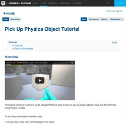 Pick Up Physics Object Tutorial
