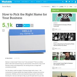How to Pick the Right Name for Your Business
