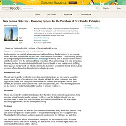 New Condos Pickering - Financing Options for the Purchase of New Condos Pickering by Condo Royalty