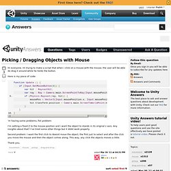 Picking / Dragging Objects with Mouse
