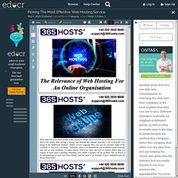Picking The Most Effective Web Hosting Service