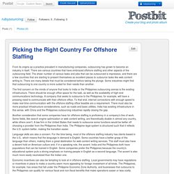 Picking the Right Country For Offshore Staffing