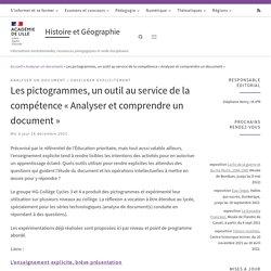 Les pictogrammes, un outil au service de la compétence «Analyser et comprendre un document» – Histoire et Géographie