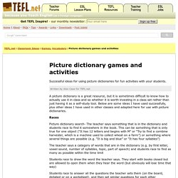 Picture dictionary games and activities