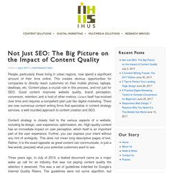 Not Just Seo: The Big Picture on the Impact of Content Quality