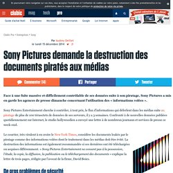 Sony Pictures demande la destruction des documents piratés aux médias