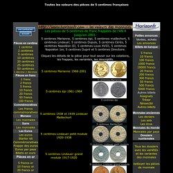 les pièces 5 centimes de franc 2001-AN 4, cotations
