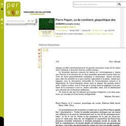 Pierre Papon, Le 6e continent, géopolitique des océans