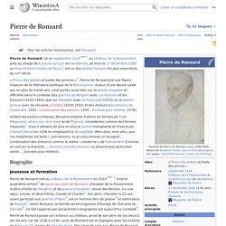 Pierre de Ronsard 1524-1585
