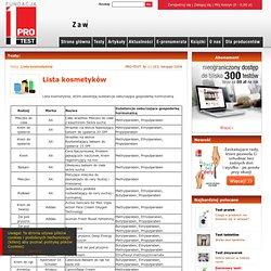 Pierwszy magazyn z testami w Polsce - Lista kosmetyków