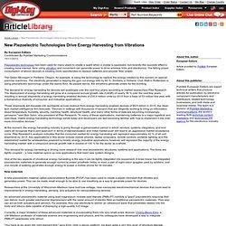 New Piezoelectric Technologies Drive Energy Harvesting - Energy Harvesting