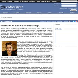 Marie Pigache : Un e-carnet de curiosités au collège