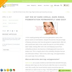 Get Rid of Dark Circle, Dark rings, Pigmentation permanently and easy - medikderma