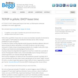 TCP/IP in pillole: DHCP lease time