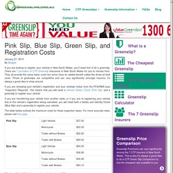 Pink Slip, Blue Slip, Green Slip, and Registration Costs