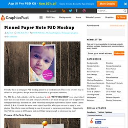 Pinned Paper Note PSD Mockup