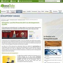 Entreprise. Les Prix Pinocchio 2011 du développement durable