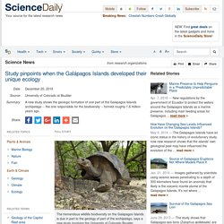 Study pinpoints when the Galápagos Islands developed their unique ecology