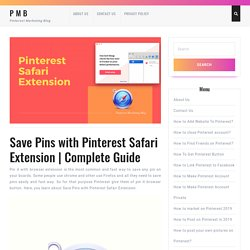 Save Pins with Pinterest Safari Extension