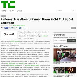 Pinterest Has Already Pinned Down $10M At A $40M Valuation