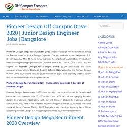 Pioneer Design Mega Recruitment 2020 for Junior Design Engineer Jobs