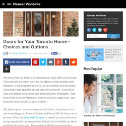Doors for Your Toronto Home - Choices and Options