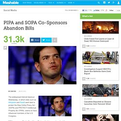 PIPA and SOPA Co-Sponsors Abandon Bills